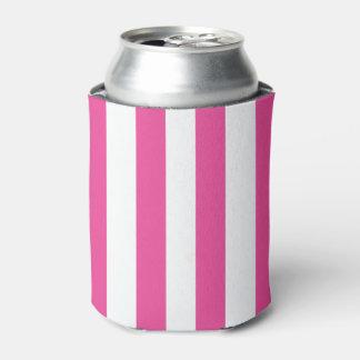 Pink Vertical Stripes Can Cooler