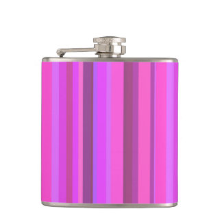 Pink vertical stripes hip flask