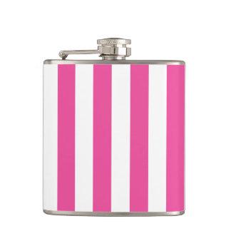 Pink Vertical Stripes Hip Flask