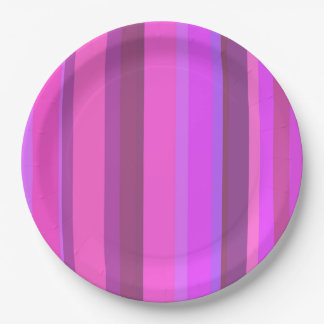 Pink vertical stripes paper plate