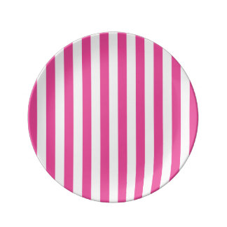 Pink Vertical Stripes Plate