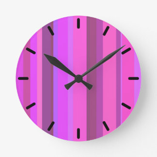 Pink vertical stripes round clock