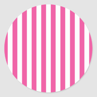 Pink Vertical Stripes Round Sticker