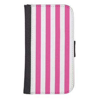 Pink Vertical Stripes Samsung S4 Wallet Case