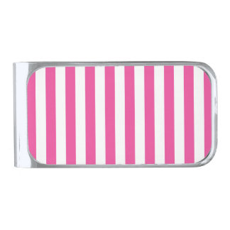 Pink Vertical Stripes Silver Finish Money Clip