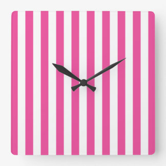 Pink Vertical Stripes Square Wall Clock