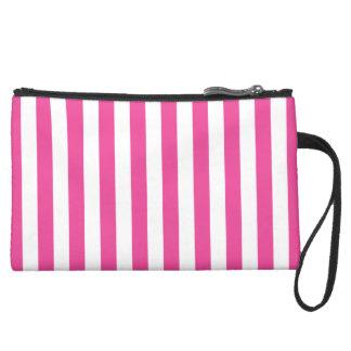 Pink Vertical Stripes Suede Wristlet
