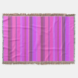 Pink vertical stripes throw blanket