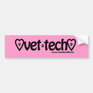pink vet tech bumper sticker