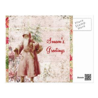 pink victorian santa post card