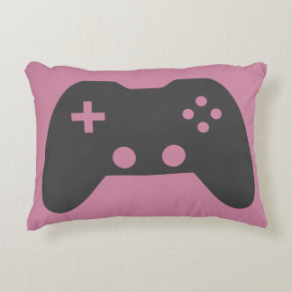 Pink Video Game Controller Accent Pillow