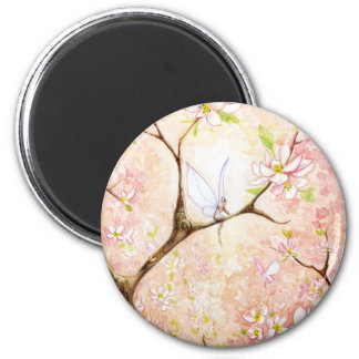 Pink View Blossom 2 Inch Round Magnet