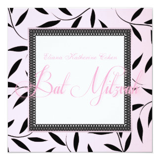 Pink Vine Bat Mitzvah Invitations