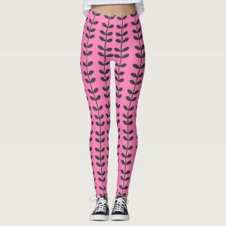 Pink Vine Pattern Leggings