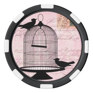 Pink Vintage Bird Poker Chip Set
