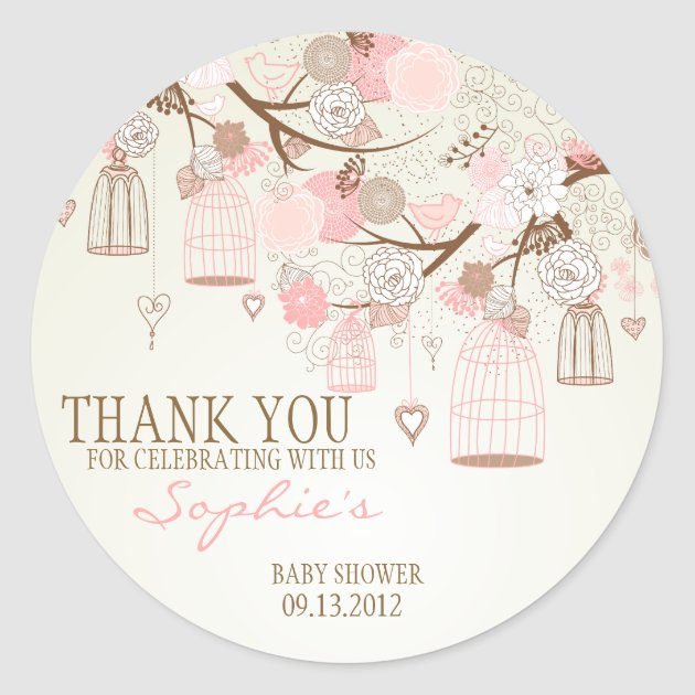 Pink Vintage Birdcages Floral Baby Shower Sticker | Zazzle