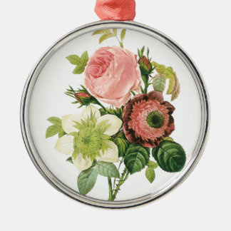 Pink Vintage Bouquet Silver-Colored Round Ornament