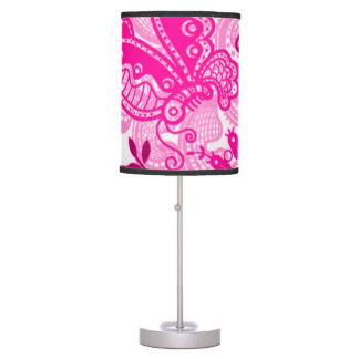 Pink Vintage Butterfly Floral Design Table Lamp
