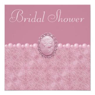 Pink Vintage Cameo & Pearls Bridal Shower Card
