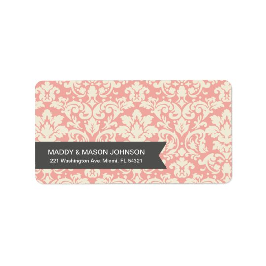 PINK VINTAGE DAMASK | ADDRESS LABELS