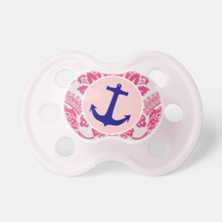 Pink Vintage Damask & Anchor Pacifier