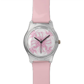 Pink Vintage Damask Floral Wrist Watches