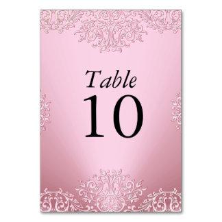 Pink Vintage Damask Wedding Table Number