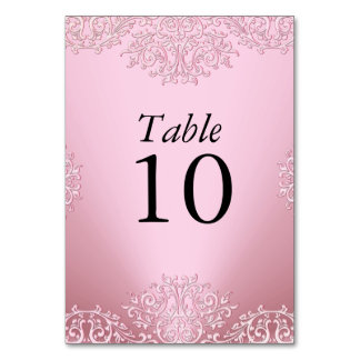 Pink Vintage Damask Wedding Table Number Table Cards