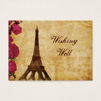 Pink vintage eiffel tower Paris wishing well card