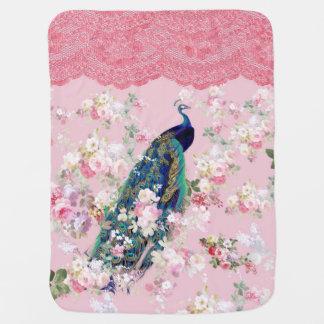 Pink vintage floral elegant lace colorful peacock swaddle blankets