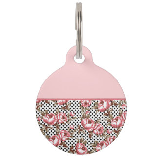 Pink Vintage Flowers and Black Polka Dots Pet Tag
