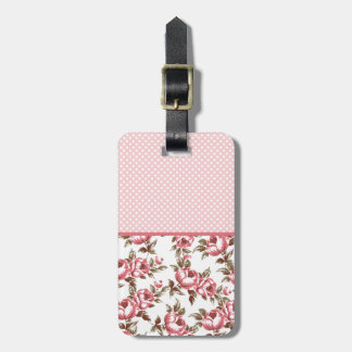 Pink Vintage Flowers and Polka Dots Luggage Tag