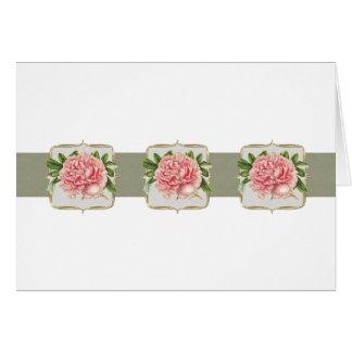 Pink Vintage Flowers  Wide Card
