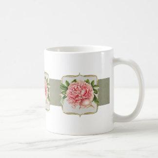 Pink Vintage Flowers  Wide Coffee Mug