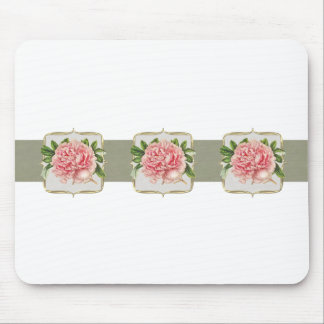 Pink Vintage Flowers  Wide Mouse Pad