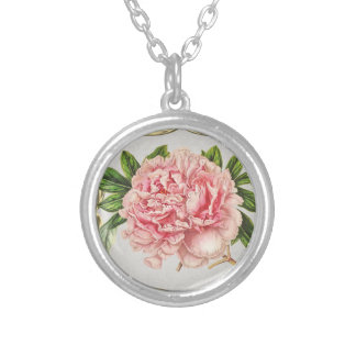 Pink Vintage Flowers  Wide Silver Plated Necklace