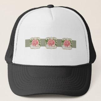 Pink Vintage Flowers  Wide Trucker Hat