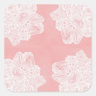 Pink Vintage Geode Pattern Square Sticker