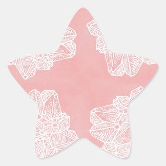 Pink Vintage Geode Pattern Star Sticker