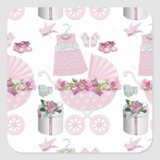 Pink Vintage Its A Girl Square Sticker