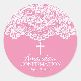 Pink Vintage Lace Confirmation Sticker