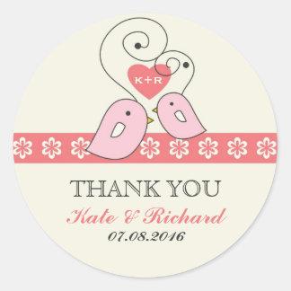 Pink Vintage Love Birds Wedding Favor Sticker