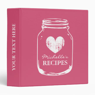 Pink vintage mason jar kitchen recipe binder book