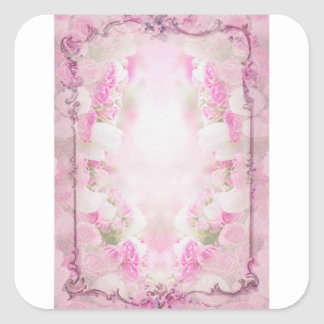pink  vintage  old style square sticker