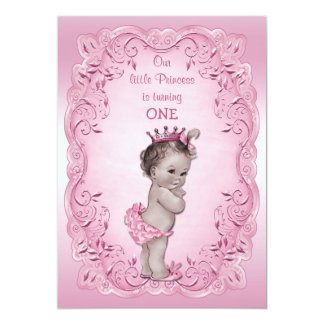 "Pink Vintage Princess 1st Birthday Party 5"" X 7"" Invitation Card"
