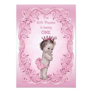 "Pink Vintage Princess 1st Birthday Party 5"" X 7"" Invitation Card"