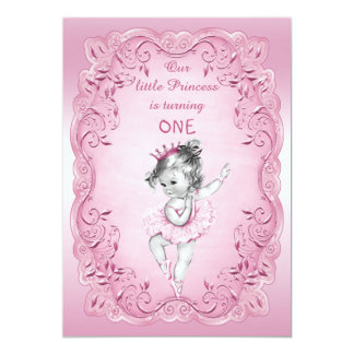 Pink Vintage Princess Ballerina 1st Birthday Party Card