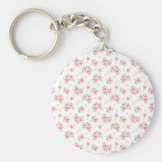 Pink vintage rose basic round button keychain