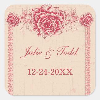 Pink Vintage Rose Border Save The Date Wedding Square Sticker