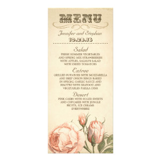 Pink vintage rose elegant wedding menu cards